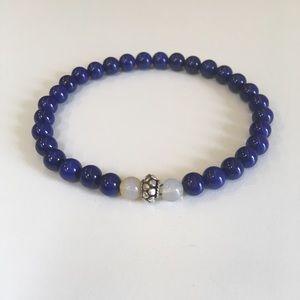 Stunning Lapis Lazuli and Fire Opal Bracelet.